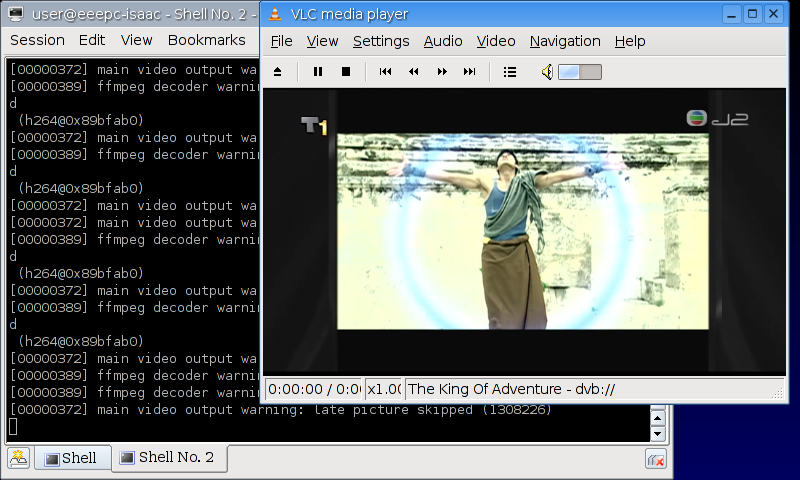 Watching TVB J2 on Linux version of EeePC 701
